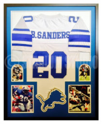 Sanders, Barry Framed Lions Jersey