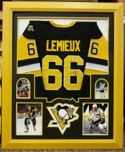 Sample of a Stadium Studio Quality Framed Pittsburgh Penguins Lemieux Jersey