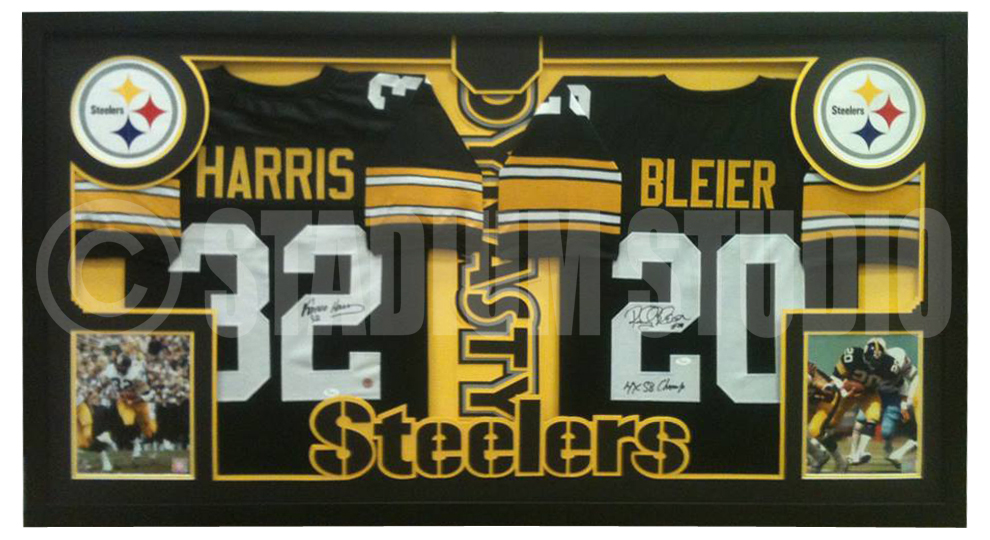 the best attitude dcee4 f6a52 Franco Harris and Rocky Bleier Autographed Double Framed Steelers Jerseys