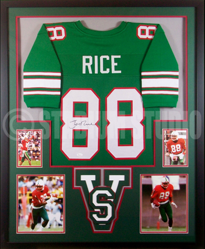 4818a441e Jerry Rice Autographed Framed Mississippi Jersey - The Stadium Studio