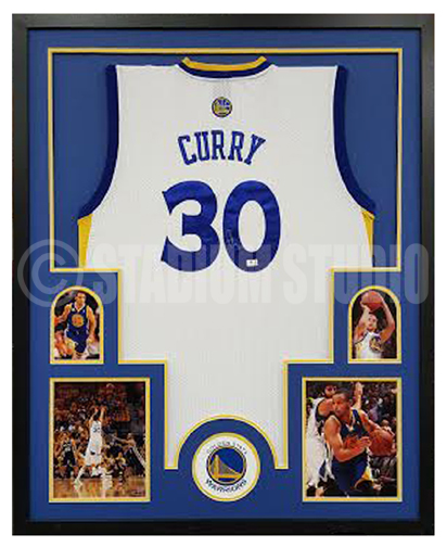Stephen Curry Autographed Framed Warriors Jersey - The Stadium Studio