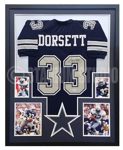 906b49b4cc5 Tony Dorsett Autographed Framed Cowboys Jersey - The Stadium Studio