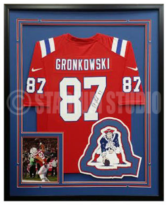 competitive price cc458 48eb0 Rob Gronkowski Autographed Framed Patriots Jersey