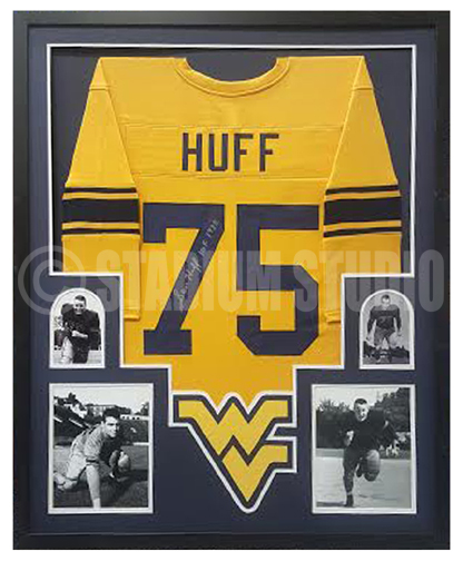 60167ce3d Sam Huff Autographed Framed West Virginia Jersey - The Stadium Studio