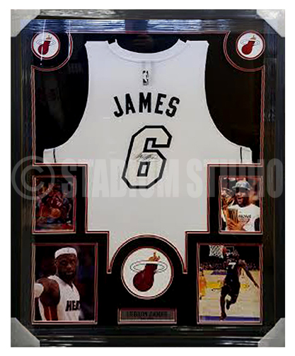 Lebron James Autographed Framed Heat Jersey - The Stadium Studio