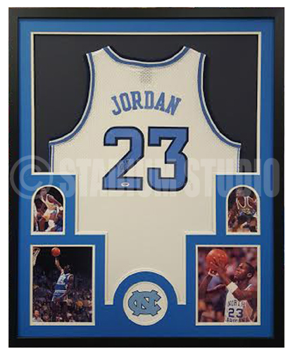 big sale abc36 355c2 Michael Jordan Autographed Framed North Carolina Jersey