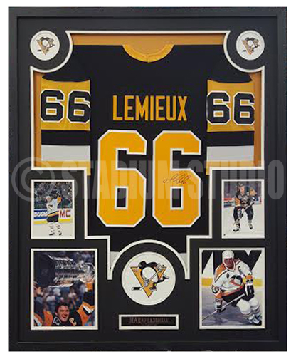Mario Lemieux Autographed Framed Penguins Jersey - The Stadium Studio 1cb51650faf