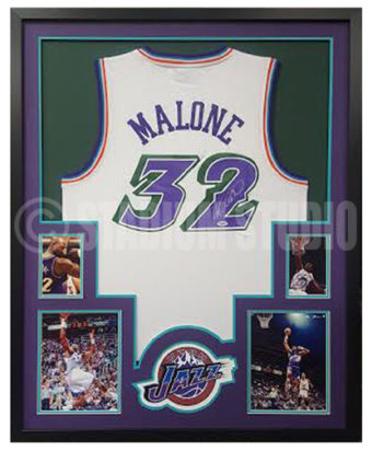 innovative design 33063 c0983 Karl Malone Autographed Framed Jazz Jersey