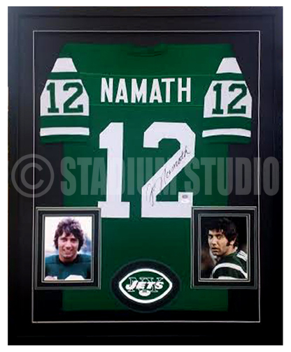 new arrival bb0b6 be212 Joe Namath Autographed Framed Jets Jersey