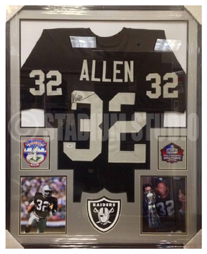 Marcus Allen Autographed Framed Raiders Jersey