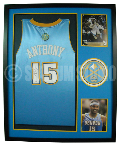 the best attitude 89dbd 558b4 Carmelo Anthony Autographed Framed Nuggets Jersey