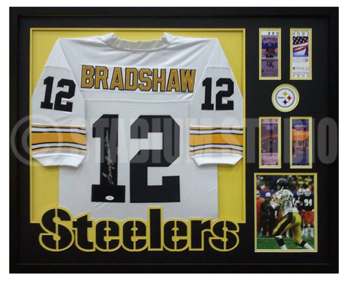 pretty nice 288d1 3c438 Terry Bradshaw Autographed Framed Steelers Jersey