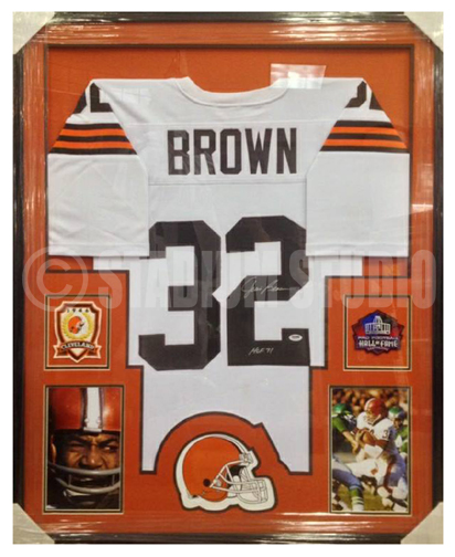huge selection of 78698 372fd Jim Brown Autographed Framed Browns Jersey