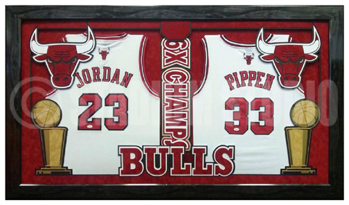 best service 9ace5 a1ea2 Michael Jordan and Scottie Pippen Autographed Framed Bulls Double Jersey