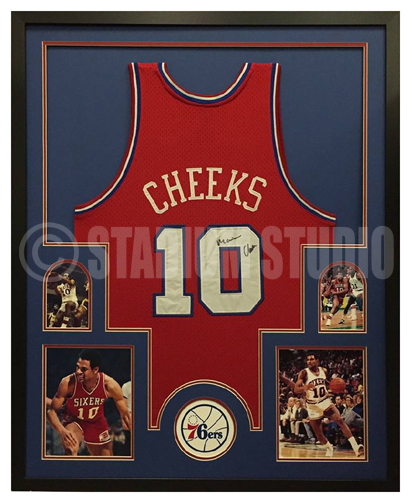 d2f874fe0868 Maurice Cheeks Autographed Framed 76ers Jersey - The Stadium Studio