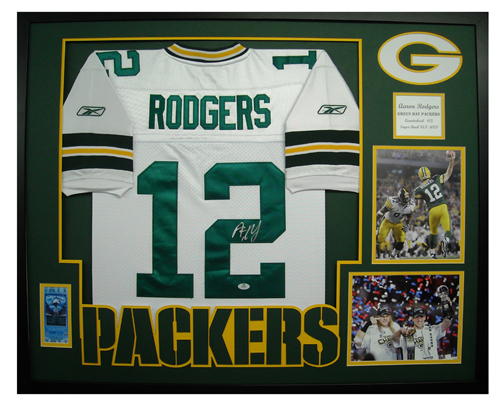 b54f8e276f2 Aaron Rodgers Autographed Framed Packers Jersey - The Stadium Studio