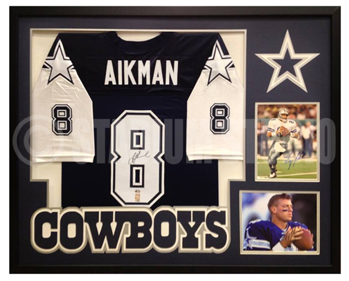 more photos f228c 24a2c Troy Aikman Autographed Framed Cowboys Jersey
