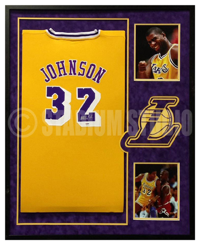 on sale f4d2d 9cfc5 Magic Johnson Autographed Framed Lakers Jersey