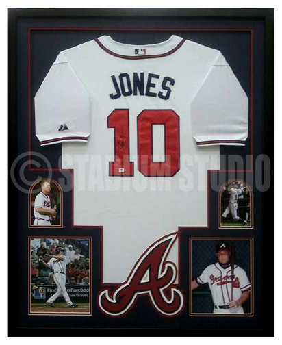 Chipper Jones Autographed Framed Braves Jersey - The Stadium Studio