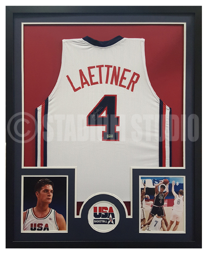 5f1a1f0961d Christian Laettner Autographed Framed Team USA Jersey - The Stadium ...