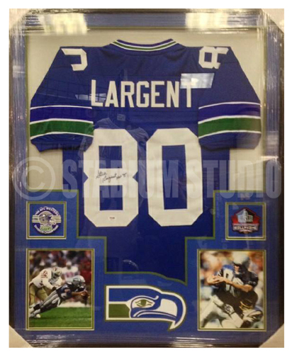 fd3a4422f Steve Largent Autographed Framed Seahawks Jersey - The Stadium Studio