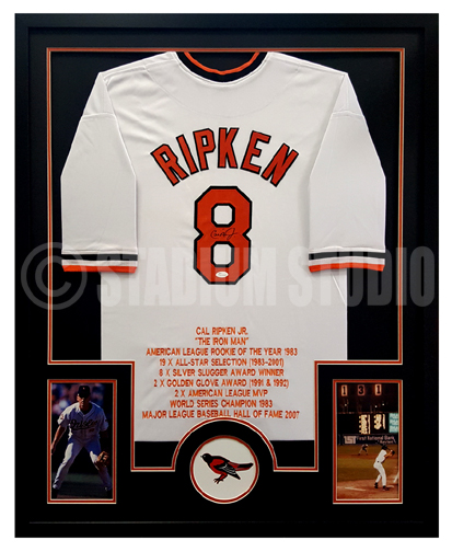detailed look bb3da b5a21 Cal Ripken Jr. Autographed Framed Orioles Jersey
