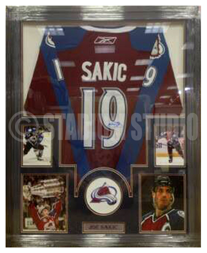 new product b926f 4b8f5 Joe Sakic Autographed Framed Avalanche Jersey