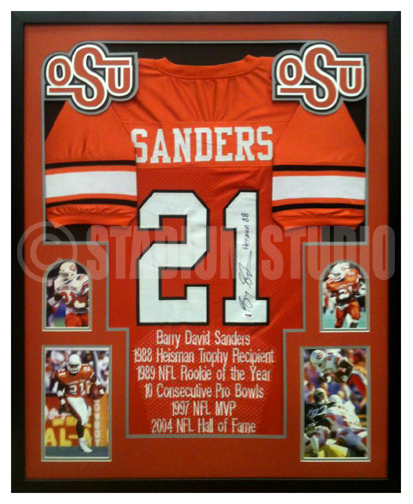 separation shoes 3f0a2 2875e Barry Sanders Autographed Framed Oklahoma State Cowboys Jersey