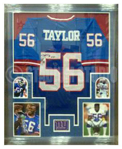 d009356ffd5 Lawrence Taylor Autographed Framed Giants Jersey - The Stadium Studio